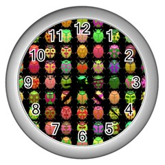 Beetles Insects Bugs Wall Clocks (silver)