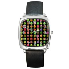 Beetles Insects Bugs Square Metal Watch