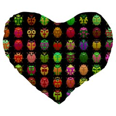 Beetles Insects Bugs Large 19  Premium Heart Shape Cushions