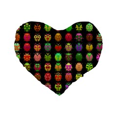Beetles Insects Bugs Standard 16  Premium Flano Heart Shape Cushions