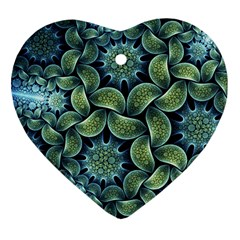 Blue Lotus Heart Ornament (two Sides)