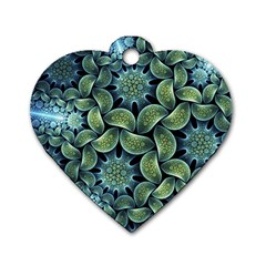 Blue Lotus Dog Tag Heart (one Side)