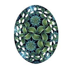 Blue Lotus Oval Filigree Ornament (two Sides)