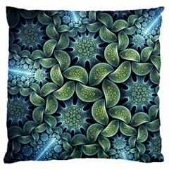 Blue Lotus Large Flano Cushion Case (one Side)