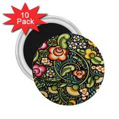 Bohemia Floral Pattern 2 25  Magnets (10 Pack)