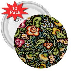 Bohemia Floral Pattern 3  Buttons (10 Pack)