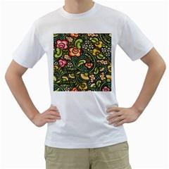 Bohemia Floral Pattern Men s T Shirt (white) (two Sided)