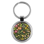 Bohemia Floral Pattern Key Chains (Round)  Front