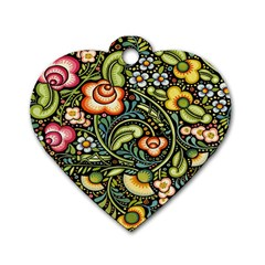 Bohemia Floral Pattern Dog Tag Heart (two Sides)