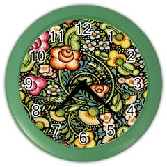 Bohemia Floral Pattern Color Wall Clocks