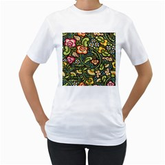 Bohemia Floral Pattern Women s T Shirt (white)