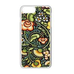 Bohemia Floral Pattern Apple Iphone 7 Plus White Seamless Case