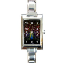 Beautiful Peacock Feather Rectangle Italian Charm Watch