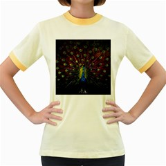 Beautiful Peacock Feather Women s Fitted Ringer T Shirts