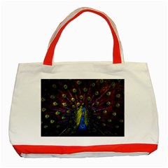 Beautiful Peacock Feather Classic Tote Bag (red)