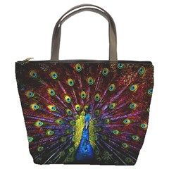 Beautiful Peacock Feather Bucket Bags