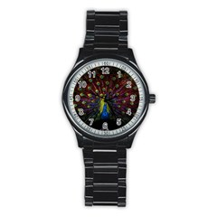 Beautiful Peacock Feather Stainless Steel Round Watch