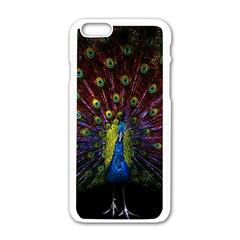 Beautiful Peacock Feather Apple Iphone 6/6s White Enamel Case