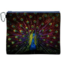 Beautiful Peacock Feather Canvas Cosmetic Bag (xxxl)