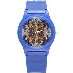 Baroque Fractal Pattern Round Plastic Sport Watch (s)