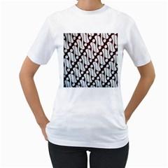 Batik Art Patterns Women s T Shirt (white) (two Sided)