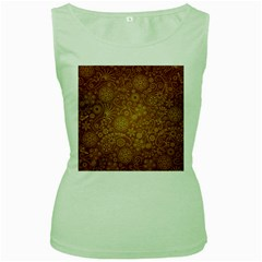 Batik Art Pattern Women s Green Tank Top