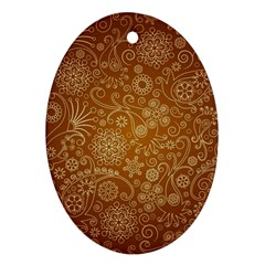 Batik Art Pattern Oval Ornament (two Sides)
