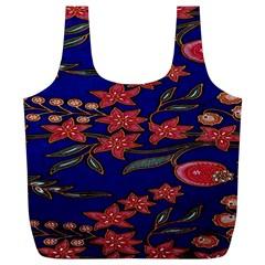 Batik  Fabric Full Print Recycle Bags (l)