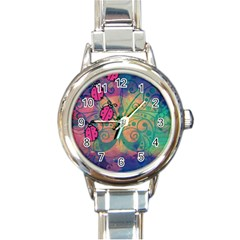 Background Colorful Bugs Round Italian Charm Watch