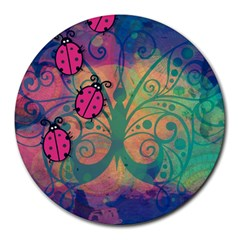 Background Colorful Bugs Round Mousepads