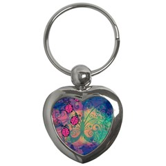Background Colorful Bugs Key Chains (heart)