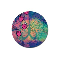 Background Colorful Bugs Magnet 3  (round)