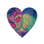 Background Colorful Bugs Heart Magnet Front