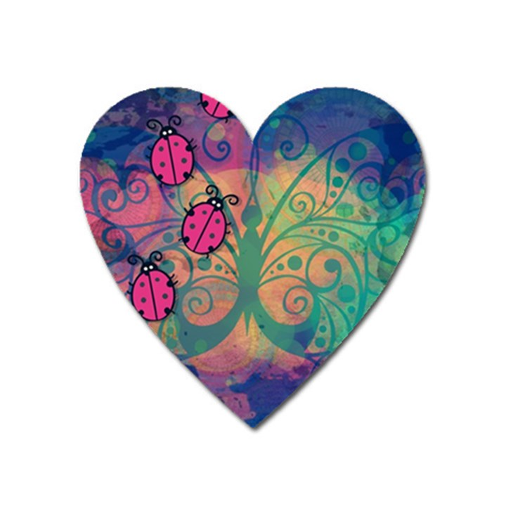 Background Colorful Bugs Heart Magnet