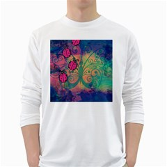 Background Colorful Bugs White Long Sleeve T Shirts