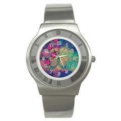 Background Colorful Bugs Stainless Steel Watch