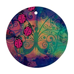 Background Colorful Bugs Round Ornament (two Sides)