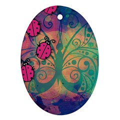Background Colorful Bugs Oval Ornament (two Sides)
