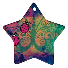 Background Colorful Bugs Star Ornament (two Sides)