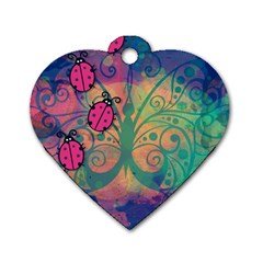 Background Colorful Bugs Dog Tag Heart (two Sides)