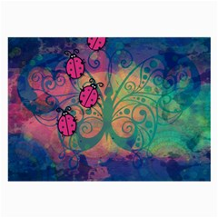 Background Colorful Bugs Large Glasses Cloth