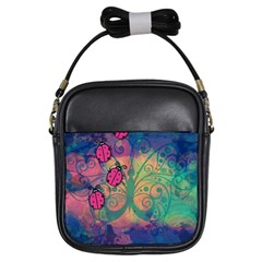 Background Colorful Bugs Girls Sling Bags