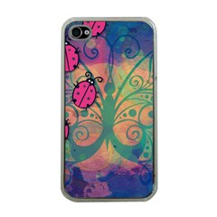 Background Colorful Bugs Apple Iphone 4 Case (clear)