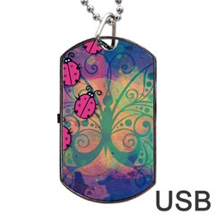 Background Colorful Bugs Dog Tag Usb Flash (one Side)