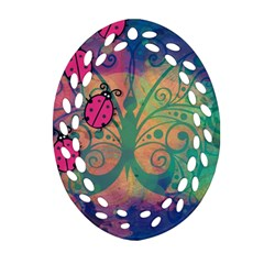 Background Colorful Bugs Oval Filigree Ornament (two Sides)