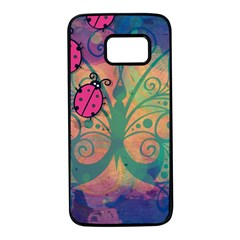 Background Colorful Bugs Samsung Galaxy S7 Black Seamless Case