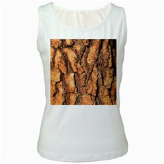 Bark Texture Wood Large Rough Red Wood Outside California Women s White Tank Top