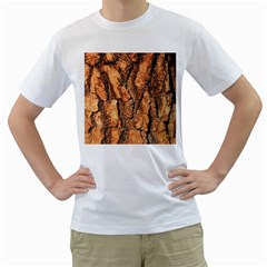 Bark Texture Wood Large Rough Red Wood Outside California Men s T Shirt (white) (two Sided)