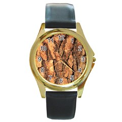 Bark Texture Wood Large Rough Red Wood Outside California Round Gold Metal Watch