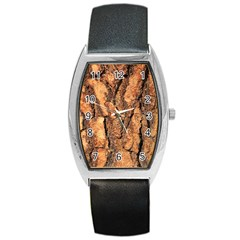 Bark Texture Wood Large Rough Red Wood Outside California Barrel Style Metal Watch